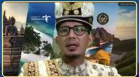 Menparekraf Sandiaga Uno dalam acara konferensi pers Global Tourism Forum 2021 secara daring, Selasa (14/9/2021) (Liputan6.com/Komarudin)
