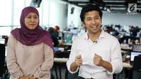 Pasangan cagub-cawagub Jawa Timur, Khofifah Indar Parawansa-Emil Elistyanto Dardak saat berkunjung ke Liputan6.com di SCTV Tower, Jakarta, Kamis (31/1).(Liputan6.com/Angga Yuniar)