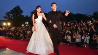 Saat itu, Song Hye Kyo diberitakan hamil oleh media Tiongkok. Bahkan beredar jika Song Hye Kyo menyembunyikan kehamilannya. (JUNG YEON-JE/AFP)