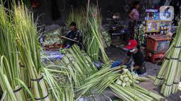 Pedagang membuat cangkang ketupat di kawasan Palmerah, Jakarta, Minggu (18/7/2021). Sepinya pembeli membuat para pedagang menjual cangkang ketupat hanya dengan harga Rp 5 ribu per ikat, padahal biasanya Rp 8 ribu per ikat. (Liputan6.com/Faizal Fanani)