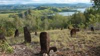 Menhir-menhir di Situs Megalit Tutari Doyo Lama dengan latar Danau Sentani. (Liputan6.com/kemdikbud.go.id)