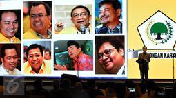 Presiden Joko Widodo (Jokowi) menyampaikan sambutan pada pembukaan Munaslub Partai Golkar di Nusa Dua Convention Center, Bali, Sabtu (14/5). Pemilihan Ketua Umum dan Munaslub Golkar dilaksanakan pada 14-16 di Pulau Dewata (Liputan6.com/Johan Tallo)