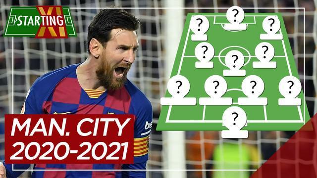 Berita motion grafis Starting XI Manchester City musim depan jika Lionel Messi dan Kalidou Koulibaly bergabung.