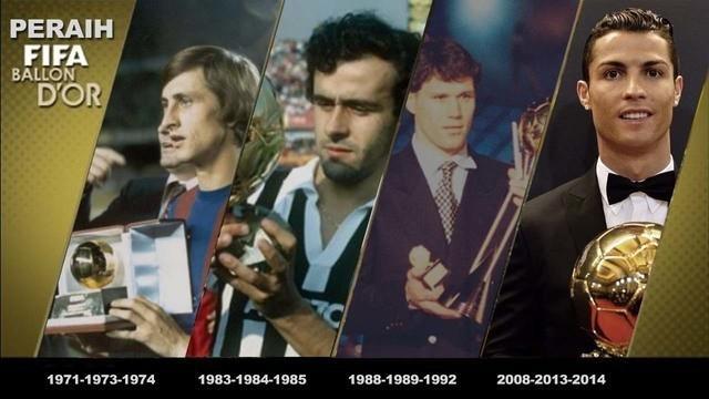 Video 4 pemain sepak bola yang meraih Ballon d`Or terbanyak sepanjang sejarah sepak bola, yaitu Johan Cruyff, Michel Platini, Marco Van Basten dan Cristiano Ronaldo.