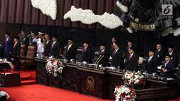 Suasana Sidang Tahunan MPR 2018 di Gedung Nusantara, Senayan, Jakarta, Kamis (16/8). Sidang Tahunan terdiri dari tiga rangkaian agenda yakni Sidang Tahunan MPR, Sidang Bersama DPR-DPD RI, dan Sidang penyampaian RAPBN Tahun 2018. (Liputan6.com/Johan Tallo)