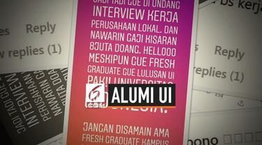 Beredar viral postingan instagram story seorang alumni Universitas Indonesia yang tidak mau digaji Rp. 8 juta. Ia tidak mau disamakan seperti lulusan kampus lain.