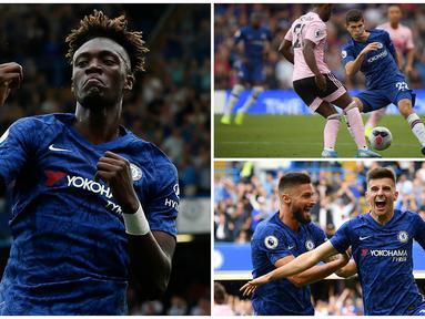 Larangan belanja pemain kepada Chelsea memberikan dampak positif bagi para wonderkid karena mereka memiliki kesempatan untuk sering dimainkan oleh Frank Lampard. Berikut ini Tammy Abraham dan tujuh young guns yang menghiasi skuad Chelsea. (Kolase Foto dari AFP)