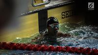 Perenang Indonesia  Triady Fauzi Sidiq tampil di nomor 100 meter gaya bebas SEA Games 2017 di National Aquatic Centre, Malaysia, (23/8). Triady Fauzi Sidiq berhasil membawa medali perak dalam kategori 100 Meter gaya bebas. (Liputan6.com/Faizal Fanani)