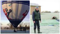 Seorang ayah yang sedang menikmati menaiki balon udara terpaksa mendarat di sekolah putrinya.