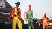 Grup Teater Dulmuluk dari Dewan Kesenian Sumsel tampil di Festival Sriwijaya Palembang (Liputan6.com / Nefri Inge)