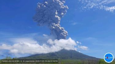 Erupsi Gunung Ili Lewotolok, Lembata, NTT, MInggu (29/11/2020). (Foto: PVMBG)