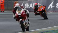 Aksi Andi Gilang pada balapan Moto3 Prancis di Sirkuit Le Mans, hari Minggu (16/05/2021). (Honda Team Asia)