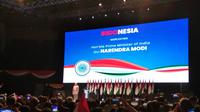 PM India Narendra Modi menyampaikan pidato di hadapan warga negaran dan keturunan India, di sela-sela kunjungan resmi ke Jakarta pada Rabu, 30 Mei 2018. (Liputan6.com/Happy Ferdian Syah Utomo)