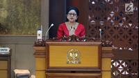 Puan Maharani memberikan pidato pertamanya sebagai Ketua DPR RI 2019-2024 di kompleks parlemen, Senayan, Jakarta, Selasa (1/10/2019). Sidang paripurna pelantikan pimpinan DPR dipimpin Abdul Wahab Dalimunthe. (Liputan6.com/Johan Tallo)