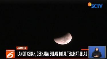Mulai Pukul 03.13 WIB gerhana bulan total mencapai puncaknya atau masuk ke bayang bayang bumi selama 103 menit.