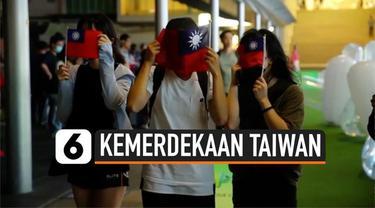 Warga Hong Kong menggelar aksi demonstrasi mendukung kemerdekaan Taiwan. Warga mendukung kebebasan Taiwan dari pemerintahan China.