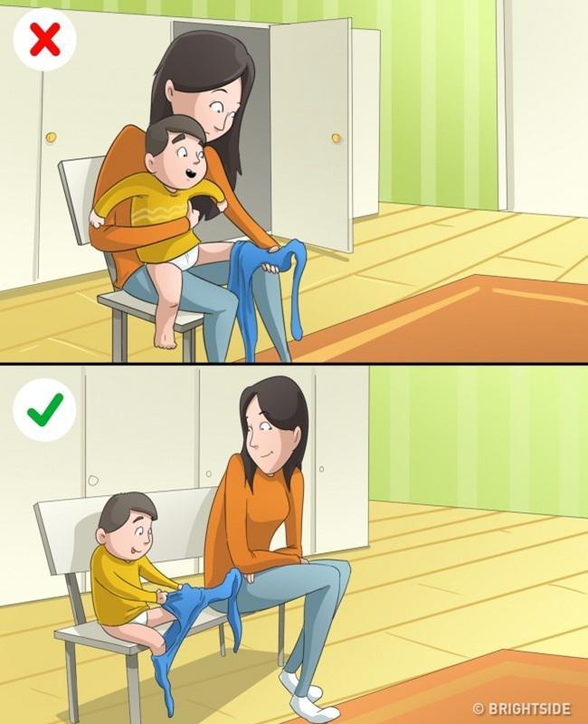 Melatih kemandirian anak dengan tidak membantu berlebihan/copyright brightside.me