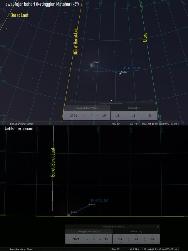 Konjungsi Bulan-Pollux. Sumber: Stellarium PC 0.20.4 via LAPAN.go.id