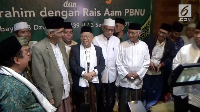 Maruf Amin melakukan safari politik ke sejumlah kota di Jawa Timur, salah satunya di Surabaya. Pasangan Joko Widodo ini melakukan pertemuan dengan seluruh pengurus PWNU Jawa Timur dan para kiyai sepuh Nahdlatul Ulama.