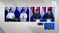 Jokowi-Ma'ruf Amin dan Prabowo Subianto-Sandiaga Uno dalam Debat Kelima Pilpres 2019. (Liputan6.com)