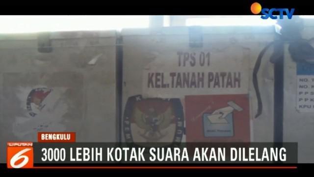 Saat ini ribuan kotak suara yang  diperkirakan mencapai 3.000 buah ini masih tersimpan di gudang lama milik KPU Bengkulu.
