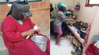 6 Potret Emak-Emak Pakai Helm saat Masak Ini Kocak (sumber: 1cak)