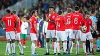 Para pemain Inggris saat melawan Bulgaria pada laga Kualifikasi Piala Dunia 2020 di Stadion Vasil Levski, Sofia, Senin (14/10). Bulgaria kalah 0-6 dari Inggris. (AFP/Nikolay Dychinov)