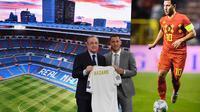 Gelandang Real Madrid, Eden Hazard, bersama presiden Florentino Perez saat perkenalan dirinya di Stadion Santiago Bernabeu, Madrid, Kamis (13/6). Dirinya didatangkan Madrid dari Chelsea dengan kontrak lima musim. (AFP/Gabriel Bouys)