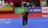 Achmad Hulaefi, atlet wushu putra Indonesia yang tampil dengan tenang raih medali perunggu.