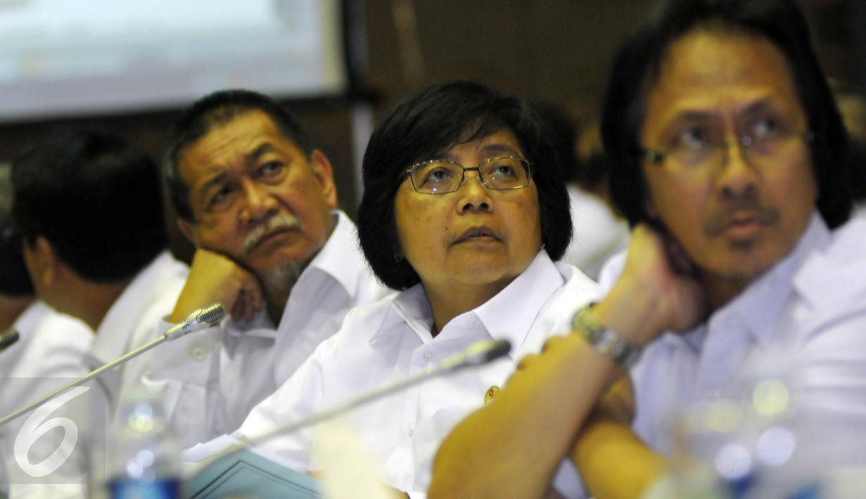 Wagub Jawa Barat Deddy Mizwar (kiri) bersama Menteri LHK Siti Nurbaya saat raker  dengan Komisi VII DPR RI, Jakarta Rabu (20/4). Rapat tersebut membahas permasalahan reklamasi Pantai Teluk Jakarta. (Liputan6.com/JohanTallo)