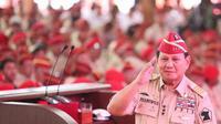Capres Prabowo Subianto saat menerima purnawirawan TNI Polri di Hambalang. (Merdeka.com)