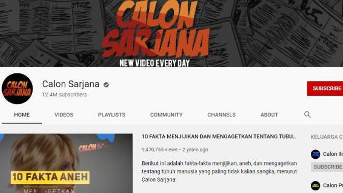 Akun YouTube Calon Sarjana. Dok: YouTube