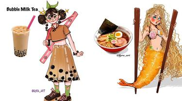 Keren 7 Ilustrasi Ini Gambarkan Makanan Jadi Karakter Kartun