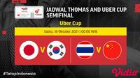 Jadwal Semifinal Piala Uber Cup 2020 Sabtu, 16 Oktober 2021