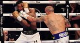 Petinju Ukraina Oleksandr Usyk berhasil merebut gelar juara tinju dunia kelas berat WBA, WBO, IBF, dan IBO. (AP/Frank Augstein)