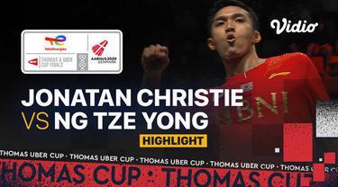 Berita video highlights pertandingan ketiga Indonesia vs Malaysia di perempat final Piala Thomas 2020, di mana Jonatan Christie meraih kemenangan, Jumat (15/10/2021) malam hari WIB.