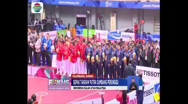 Tim sepak takraw beregu putra sumbang medali perunggu usai kalah lawan Malaysia.