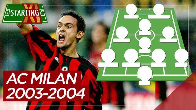 Berita motion grafis Starting XI terbaik AC Milan saat juara Liga Italia musim 2003-2004.