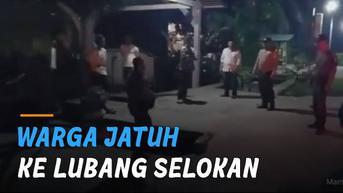VIDEO: Warga Tiba-Tiba Jatuh ke Lubang Selokan Saat Patroli
