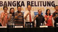 Ihsan Maulana Mustofa (kanan) dan Fitriani (dua kanan) akan menjadi ujung tombak tuan rumah dalam mengejar gelar pada Indonesia Masters 2018. (PBSI)