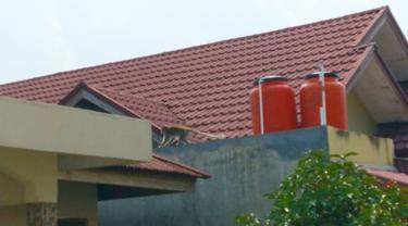 Seekor monyet ekor panjang memanjat rumah warga Pekanbaru.