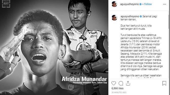 AHY sampaikan duka cita atas meninggalnya Afridza Munandar dan Alfin Lestaluhu (foto: akun instagram Agus Yudhoyono)