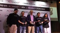 Peluncuran bluetooth headphone Audio Technica oleh Haraguchi, Operation and Consumer Product Manager Role Audio Technica di Jakarta, Rabu (22/11/2017). Liputan6.com/Agustin Setyo W