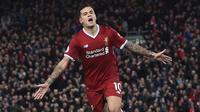 Philippe Coutinho - Coutinho dilepas Liverpool ke Barcelona dengan transfer total mencapai 145 juta euro pada Januari 2018. (AFP/Paul Ellis)