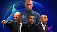 Liga Champions - Ilustrasi Pelatih Hans-Dieter Flick, Zidane, Luis Enrique, Di Matteo (Bola.com/Adreanus Titus)