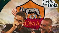 Cerita Bola - AS Roma: Francesco Totti dan Daniele De Rossi (Bola.com/Adreanus Titus)