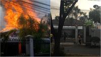 Api besar tampak berkobar di atap rumah mewah kompleks Widya Chandra. (Twitter.com/@jaesnicko )