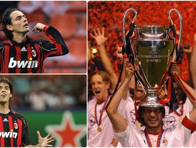 AC Milan menjadi satu diantara klub asal Italia yang menakutkan di kompetisi Eropa ketika meraih gelar trofi Liga Champions 2006/2007. Berikut 6 pemain bintang AC Milan saat meraih gelar juara Liga Champions 2007. (kolase foto AFP)