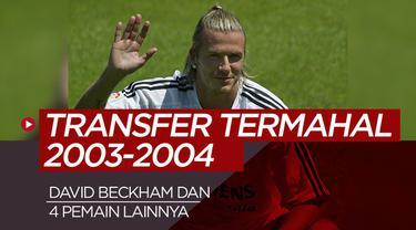 Berita motion grafis kilas balik 5 pemain termahal bursa transfer musim 2003-2004, David Beckham nomor satu.