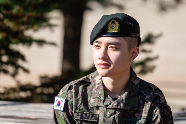 D.O EXO dalam unggahan Twitter resmi Military Manpower Administration Korea Selatan. (Twitter/ https://twitter.com/mma9090/status/1328867985230946305/photo/1